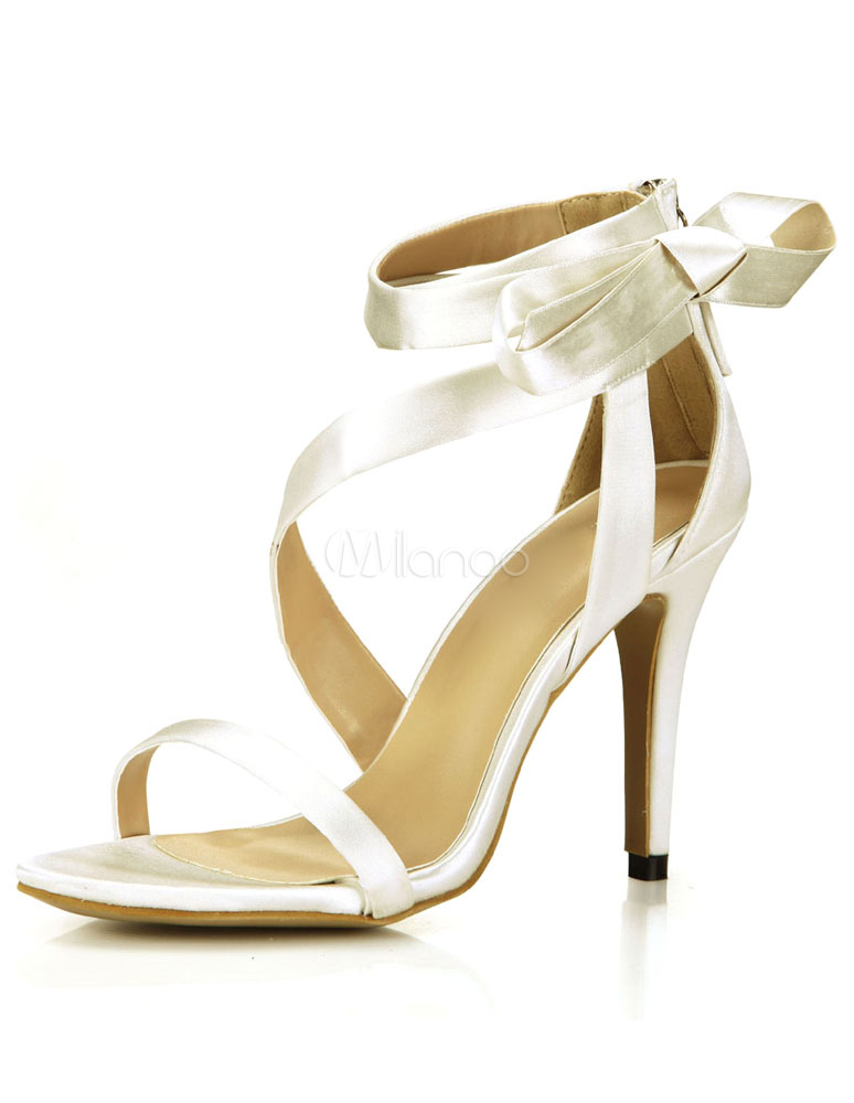 Buy Ivory Open Toe Satin Evening and Bride's Sandals for $52.24 in Milanoo store