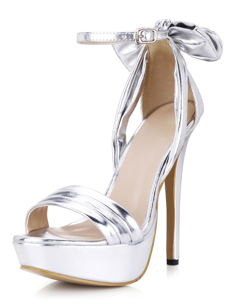 Buy Silver Bow PU Platform Evening & Bridal Sandals for $43.95 in Milanoo store