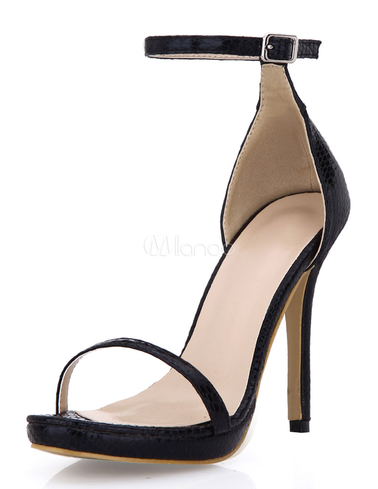 Buy Black Open Toe PU Evening and Bridal Sandals for $45.49 in Milanoo store
