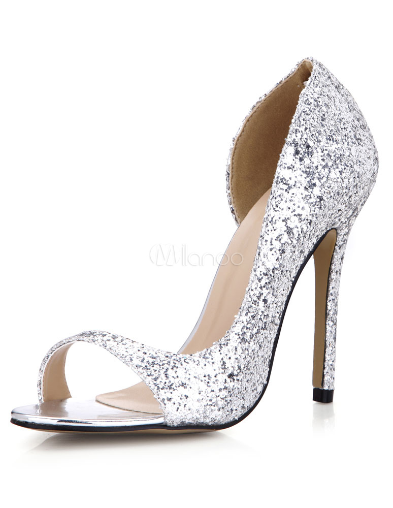 Silver Sequins PU Evening and Bridal Sandals