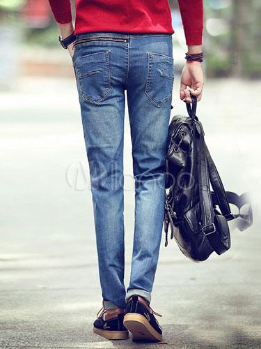 qualit t blau denim skinny jeans f r m nner. Black Bedroom Furniture Sets. Home Design Ideas