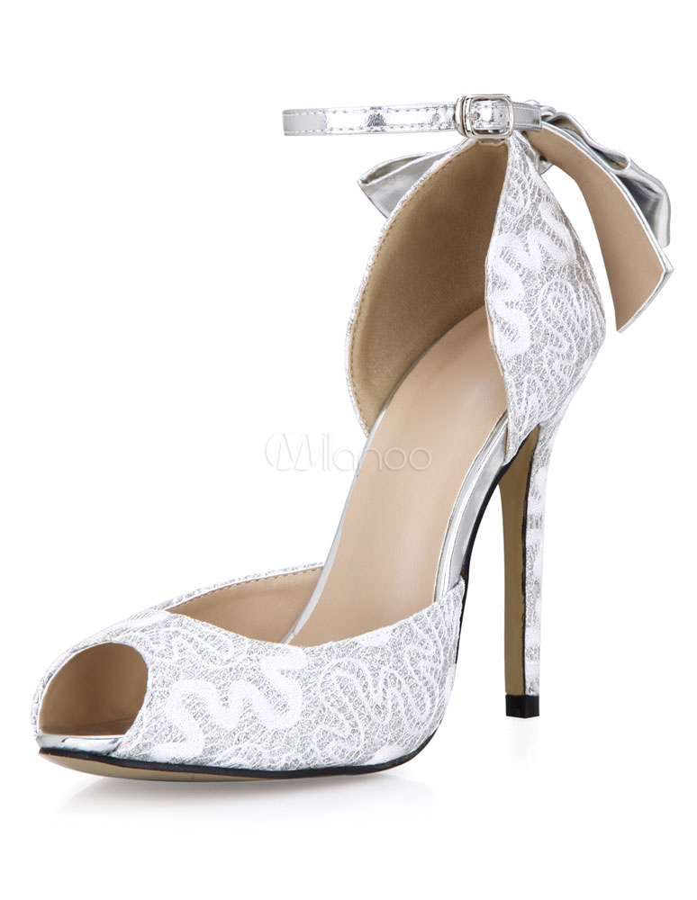 Buy Silver Peep Toe PU Evening and Bride's Sandals for $67.49 in Milanoo store