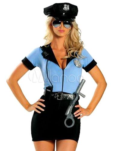 9ae1d5f82 Fantasia policial Sexy poliéster azul de 2 peças para mulher Halloween-No.1