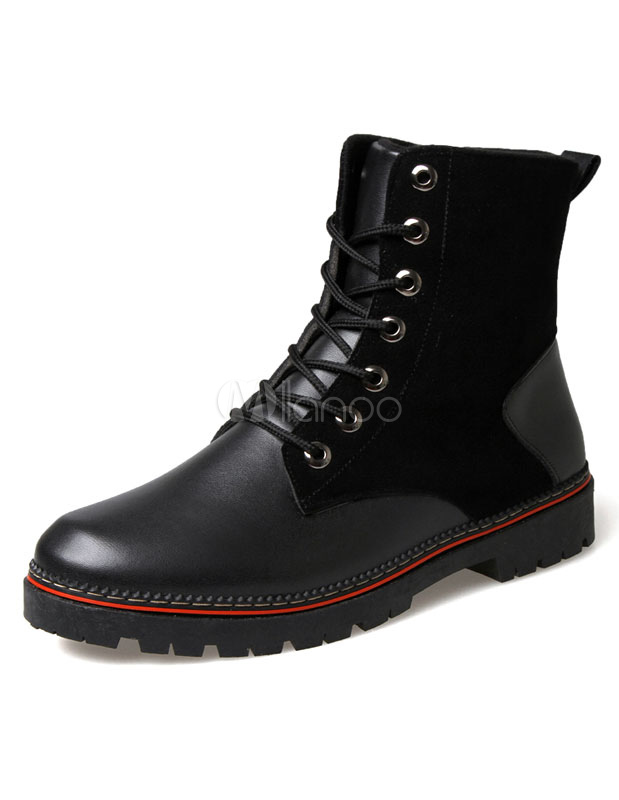Black Quality Round Toe PU Boots for Men