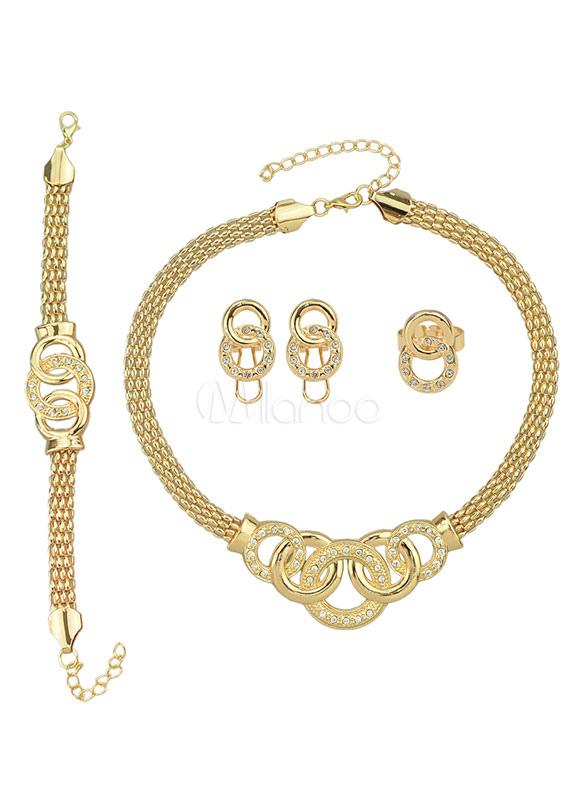 Geometric Gold Contemporary Alloy Jewelry Set