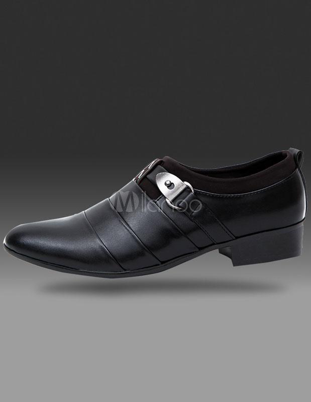 Zapatos de vestir de hombre 2018 Black señaló Toe PU zapatos de vestir para hombres OQhcrgc