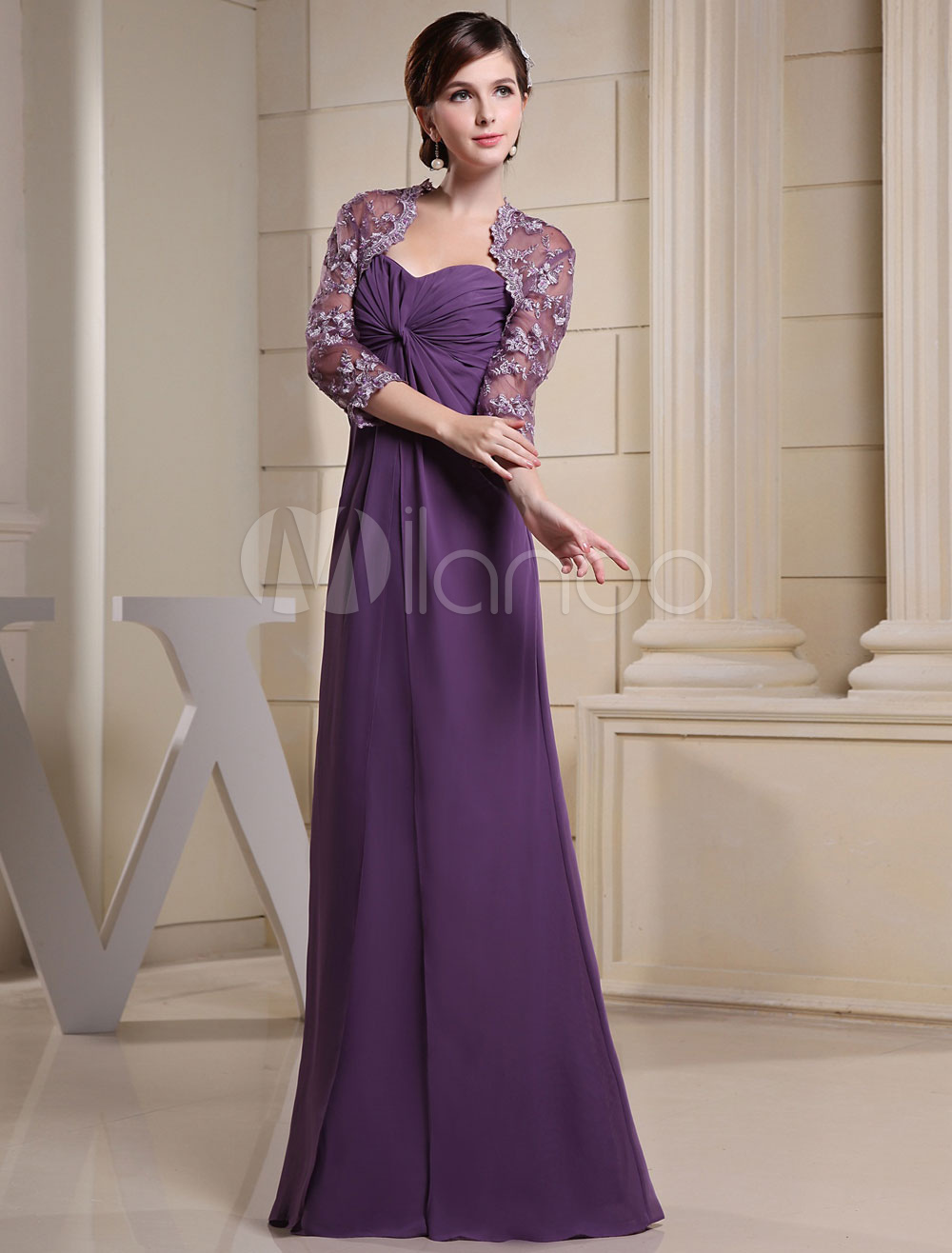 Twisted Sweetheart Chiffon Evening Dress with Lace Illusion Overcoat