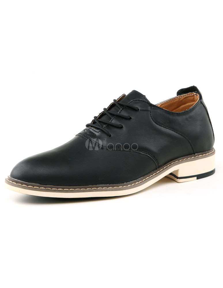 British Style Black PU Elevator Shoes for Men