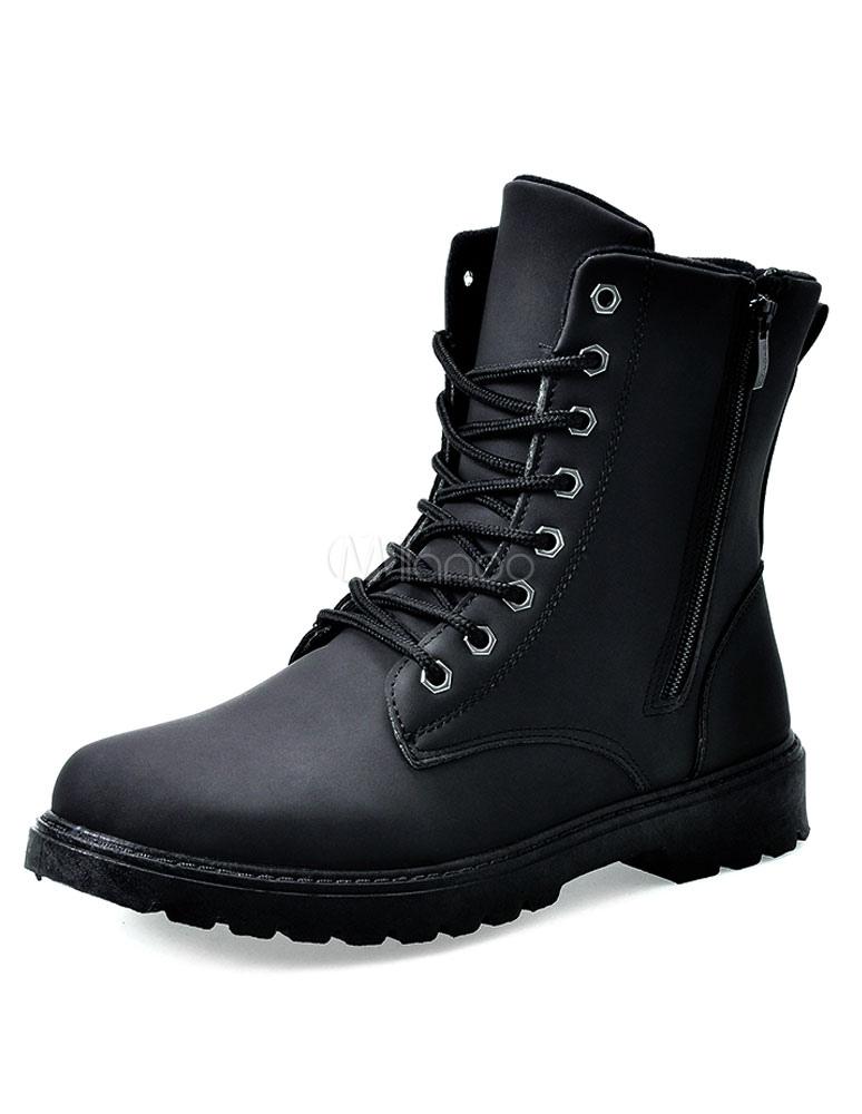Milanoo / Blck Round Toe Zipper PU Boots for Men