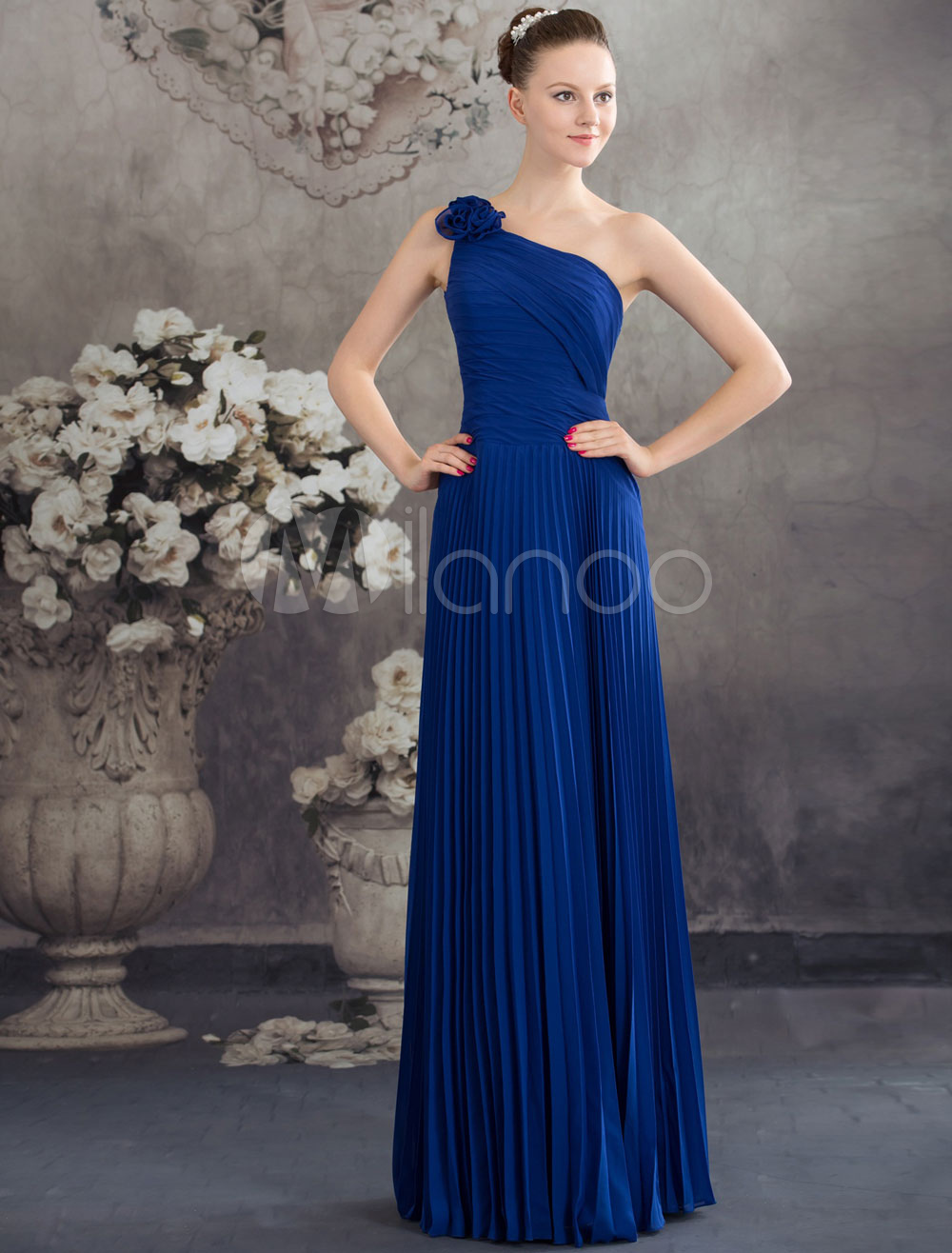 Buy One Shoulder Flower Pleated Floor Length Prom Dress with Corset Back for $100.09 in Milanoo store