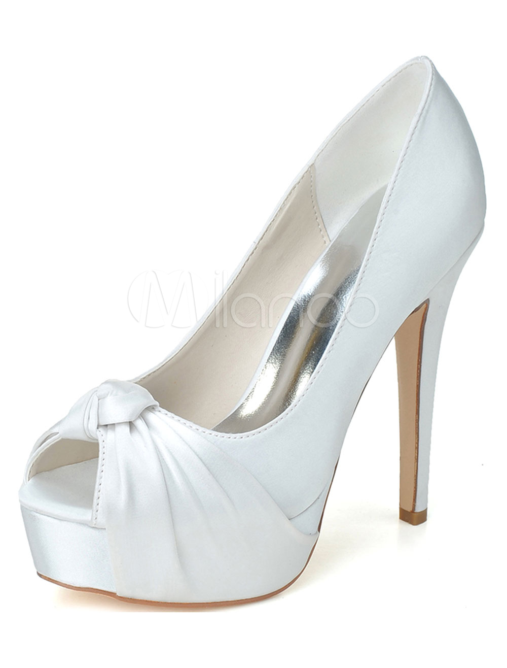 White Twisted Peep Toe Satin Evening & Bridal Sandals