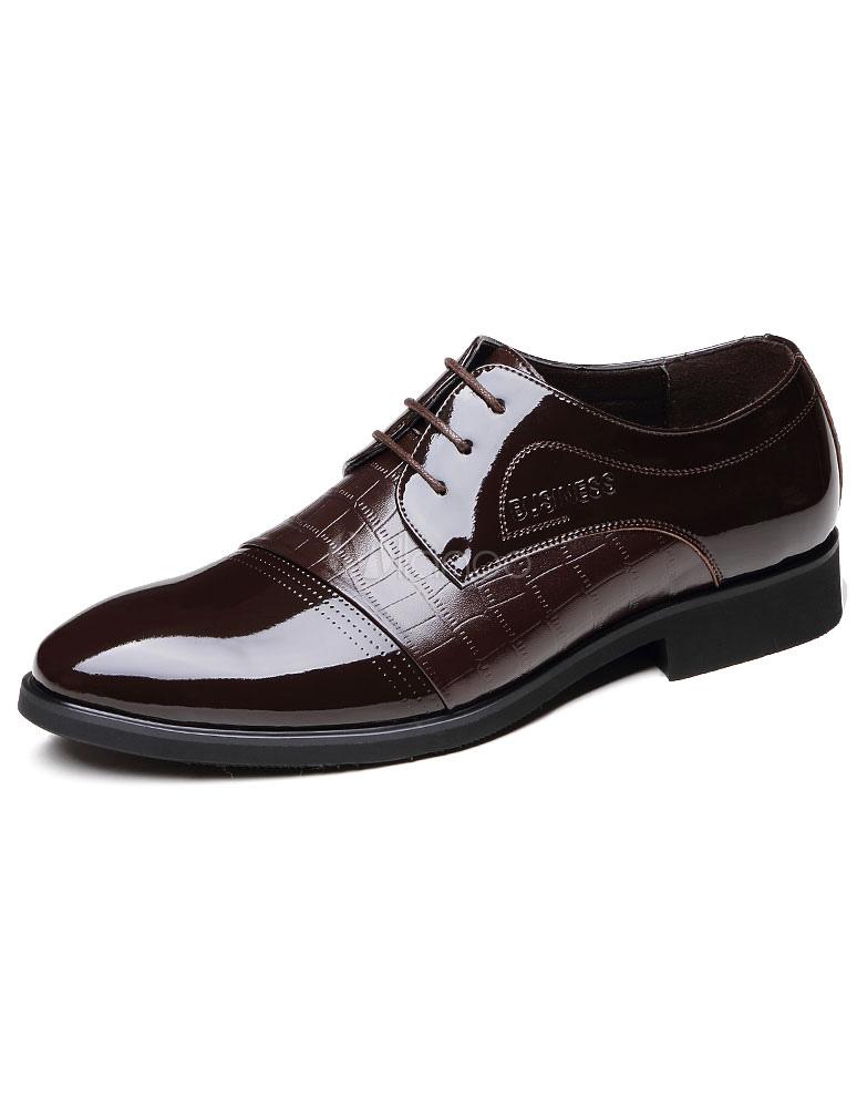 Brown señaló Toe cuero zapatos de vestir para hombre SVq4GiWn