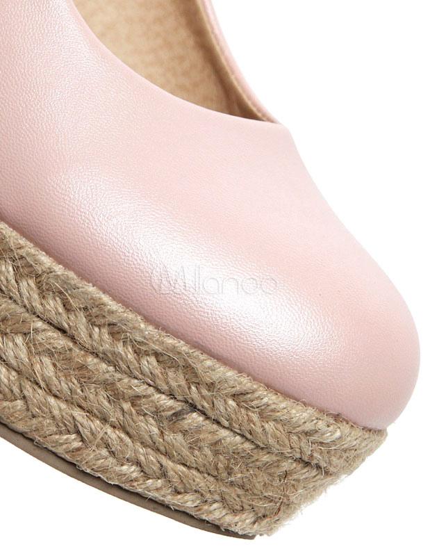 Blanco ronda Toe PU zapatos de cuña para damas L1ZsXh