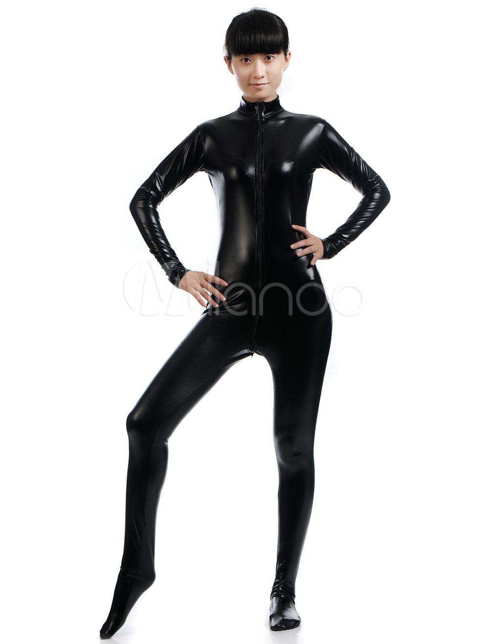 Buy Black Halloween Costume Cosplay Shiny Metallic Cosplay Zentai Suit Halloween for $33.99 in Milanoo store
