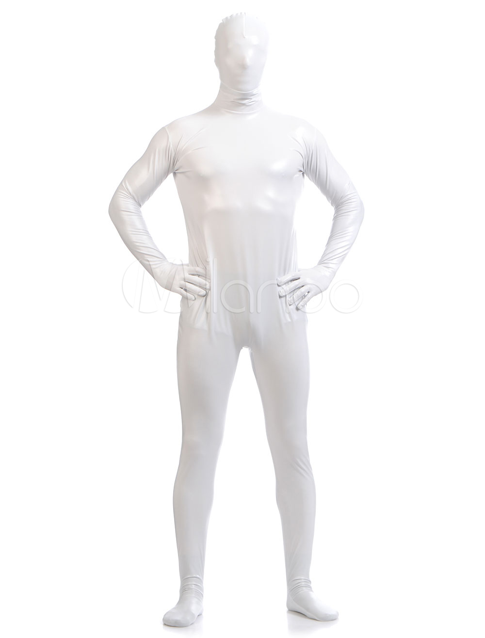Halloween Adult Full Bodysuit White Shiny Metallic Zentai Suits for Men  Halloween