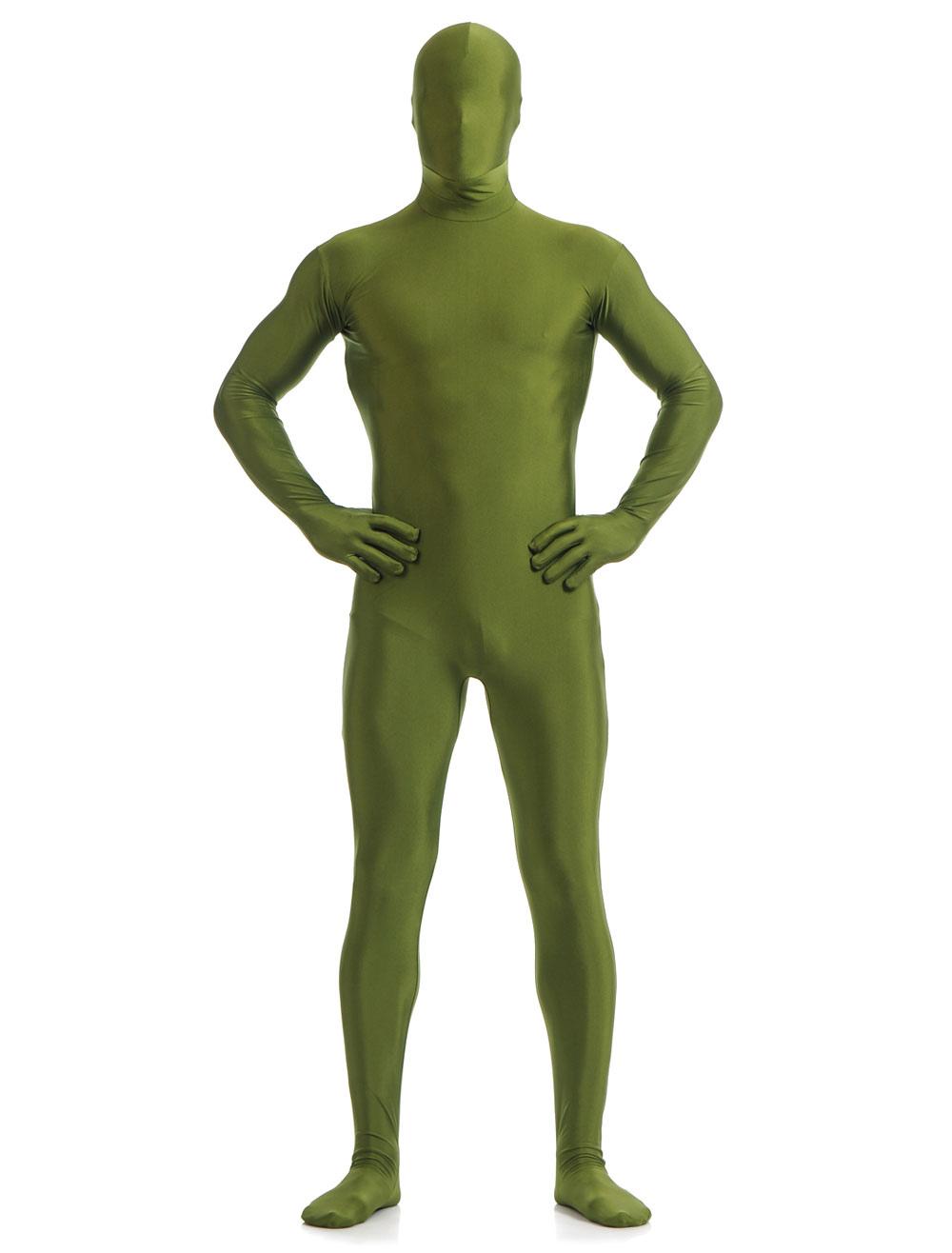 Halloween Green Lycra Spandex Zentai Suit for Men Morphsuits Halloween