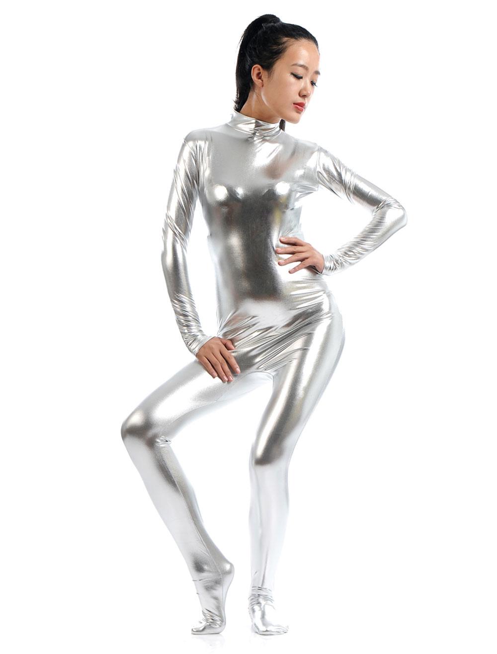 karneval silber zentai anzug gl nzend metallic catsuit f r frauen. Black Bedroom Furniture Sets. Home Design Ideas