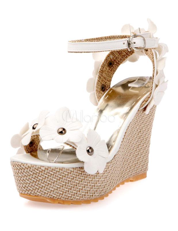 f4d070f885a795 Fiori bianchi in camoscio con zeppa sandali per le donne - Milanoo.com