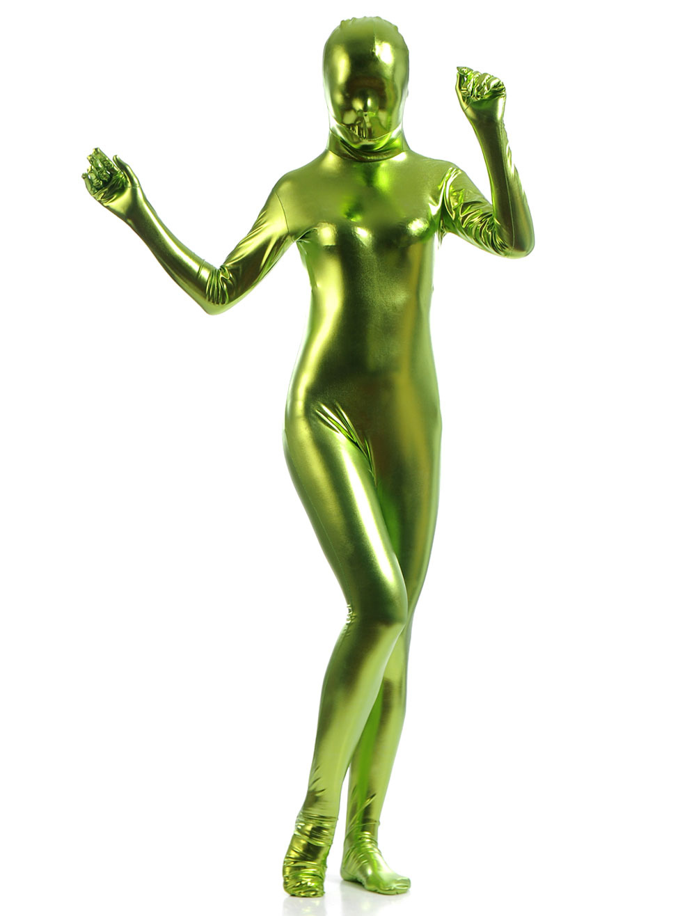 Green Shiny Metallic Cosplay Zentai Suits for Women Halloween