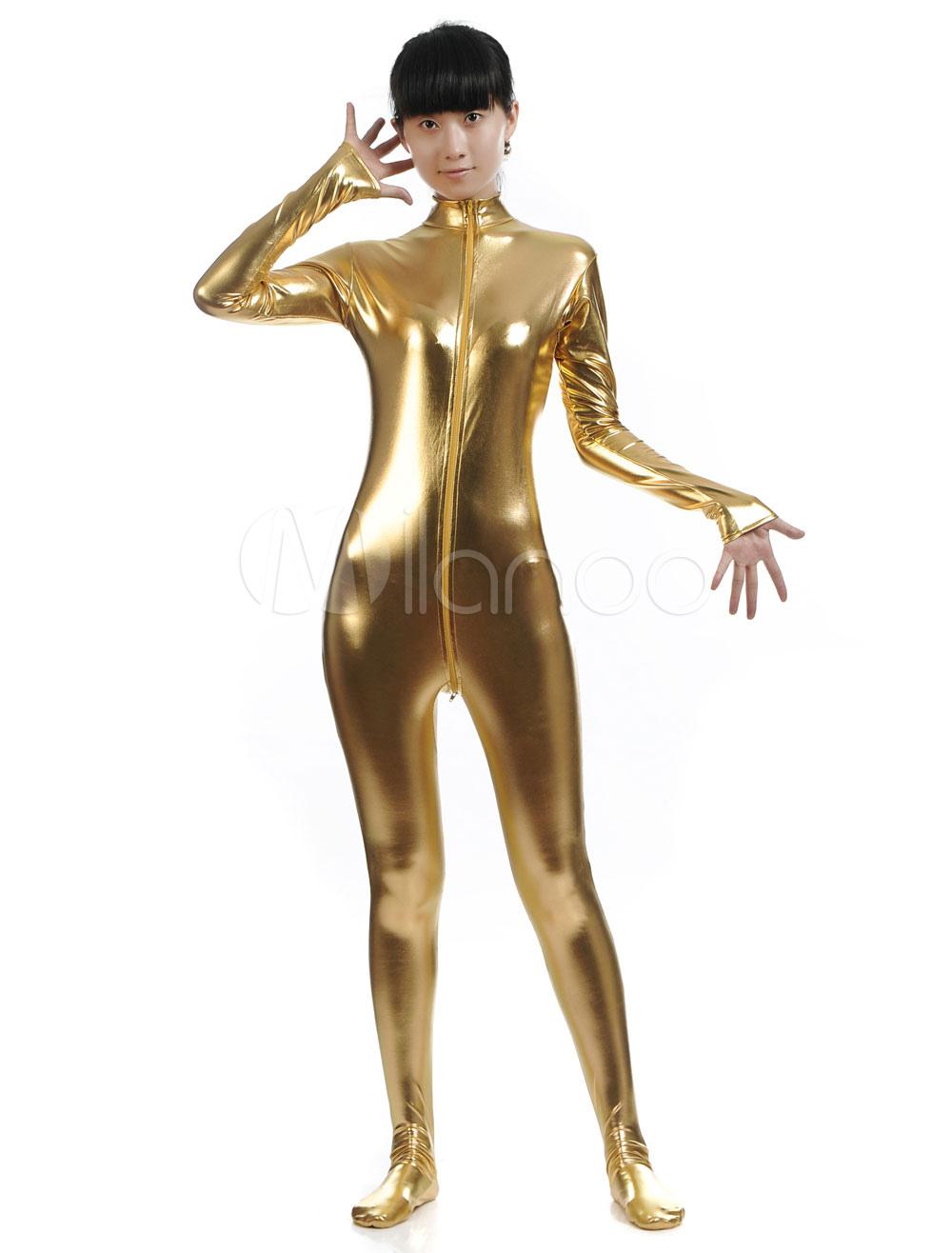 Yellow Zipper Shiny Metallic Cosplay Zentai Suit for Women Halloween