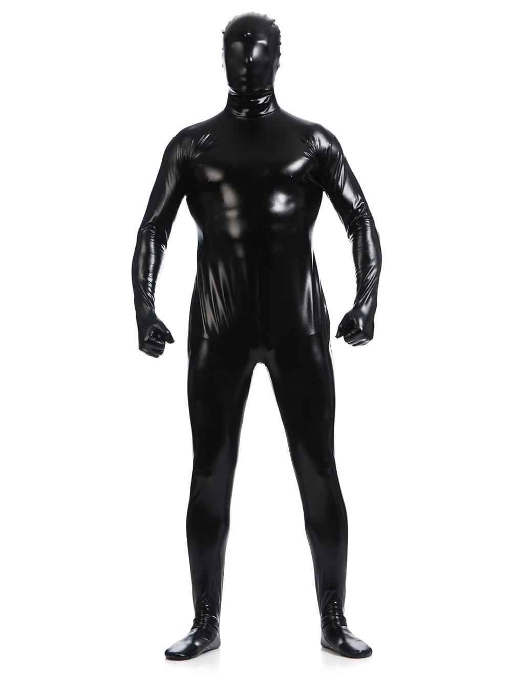 Black Shiny Metallic Zentai Suits for Men Halloween