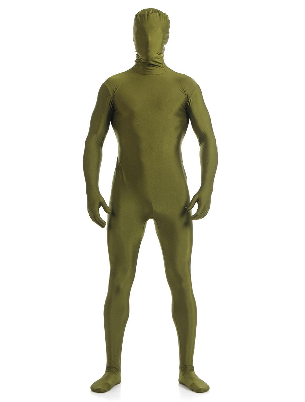 Halloween Grass Green Lycra Spandex Zentai Suit for Men Morphsuits Halloween
