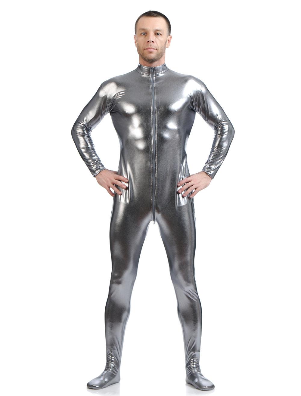 Buy Gray Shiny Metallic Cosplay Zentai Suit for Men Halloween Costume Cosplay Halloween for $26.09 in Milanoo store