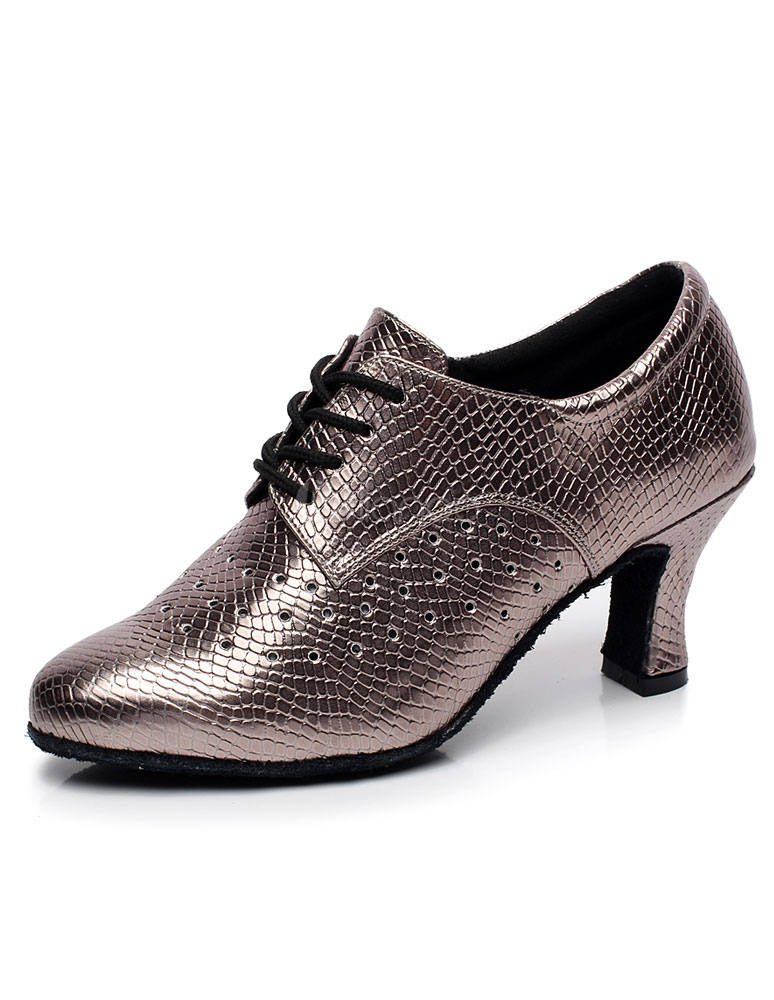Gold Lace Up PU Leather Ballroom Shoes