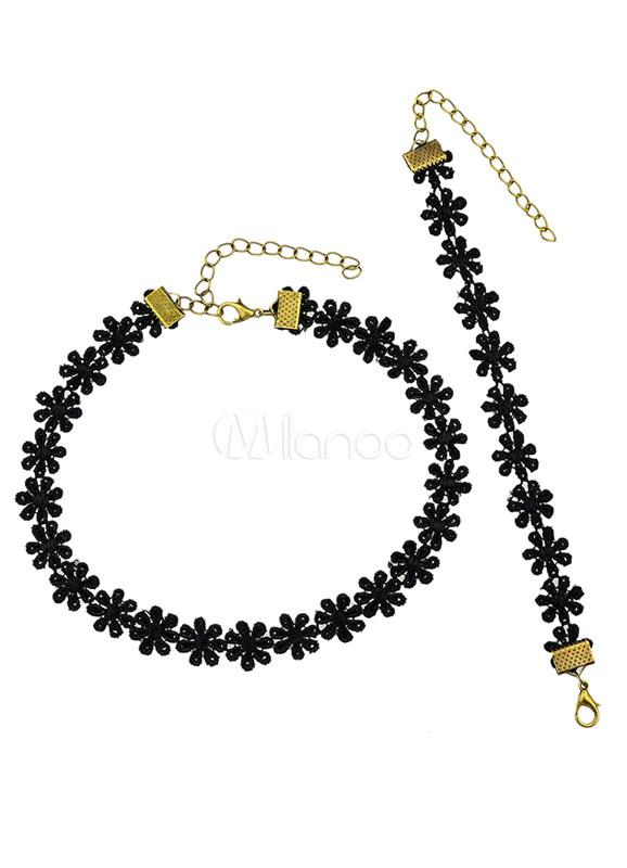 Black Geometric Flower Alloy Jewelry Set for Women