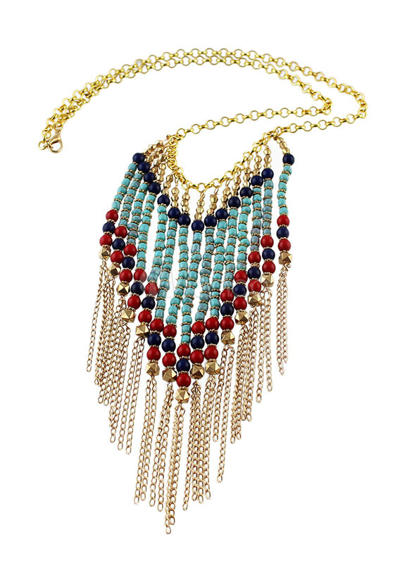 BoHo Multicolor Tiered Alloy Necklace For Women