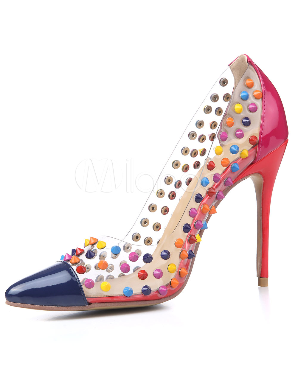 Buy Women High Heels Red Pointed Toe Rivets Stiletto Heel Slip On Pumps Spike Shoes for $53.09 in Milanoo store