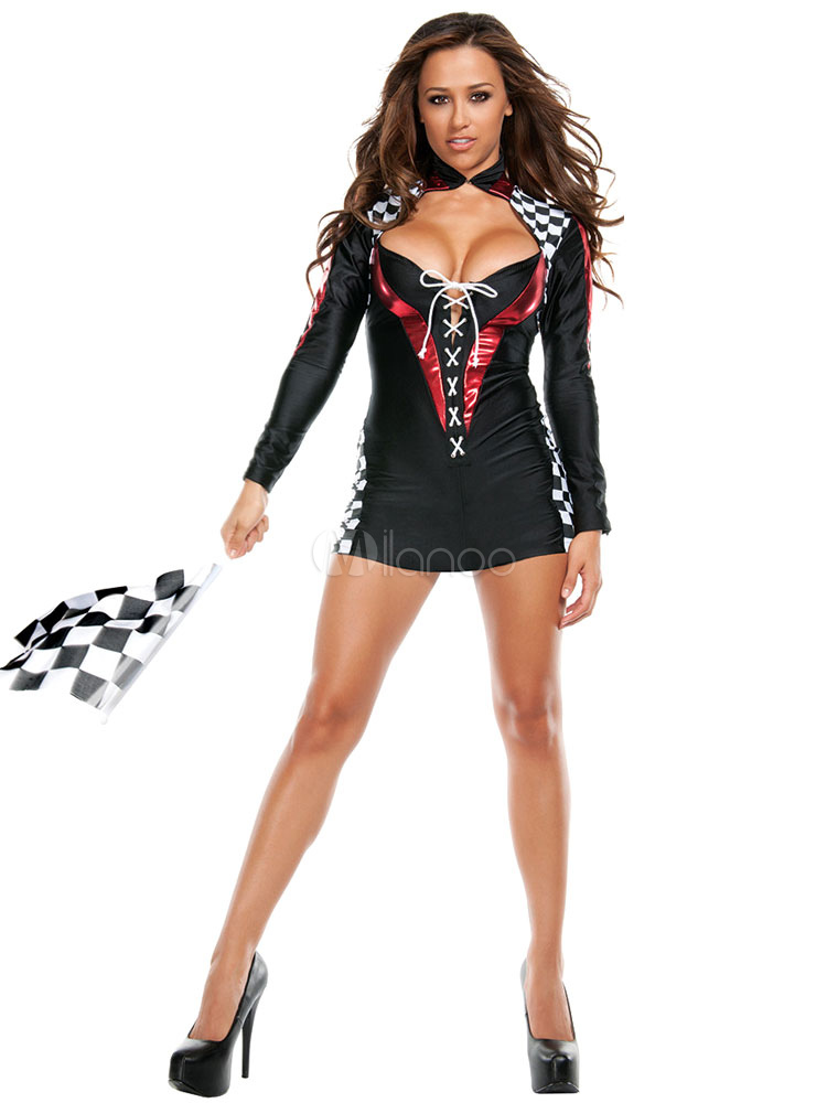 Halloween Sexy Black Polyester Race Car Driver Costume for Women  Halloween-No.1 ...