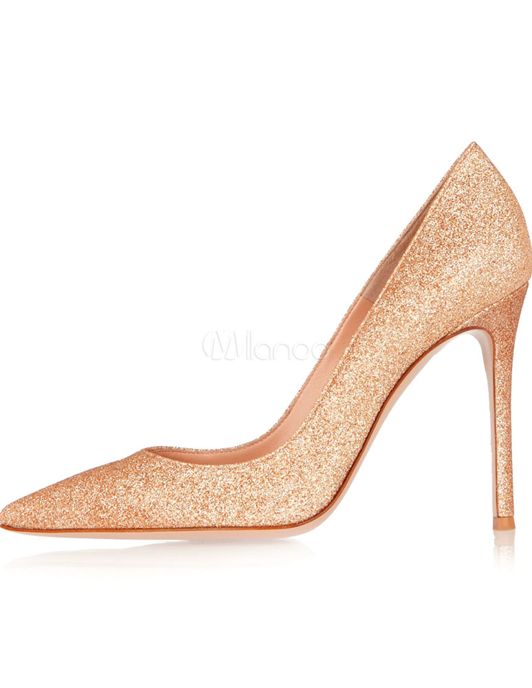 Buy Gold Glitter Pointy Toe Heels for Women for $57.59 in Milanoo store