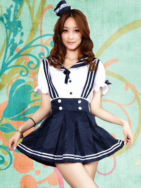 Navy Polyester Bows Lolita Jumper Skirt