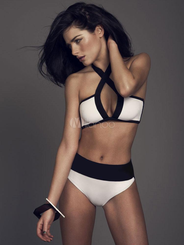 Buy Split Color Polyester Bikini Swimsuit for Women for $19.54 in Milanoo store