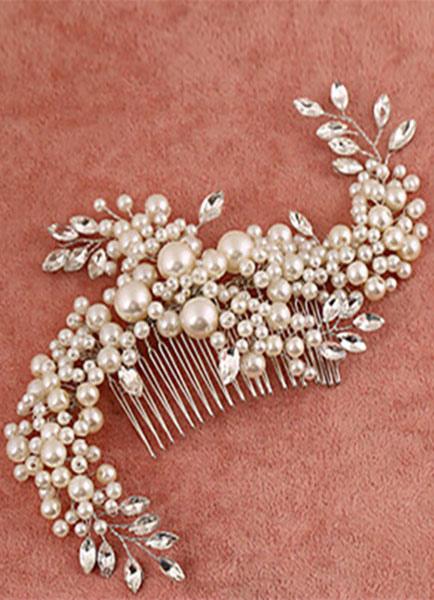 36e662271632 Gioielli per capelli da sposa perla imitazione metallo color avorio -No.1  ...