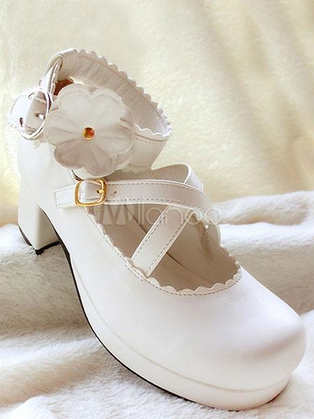White Flower PU Lolita Heels for Girls