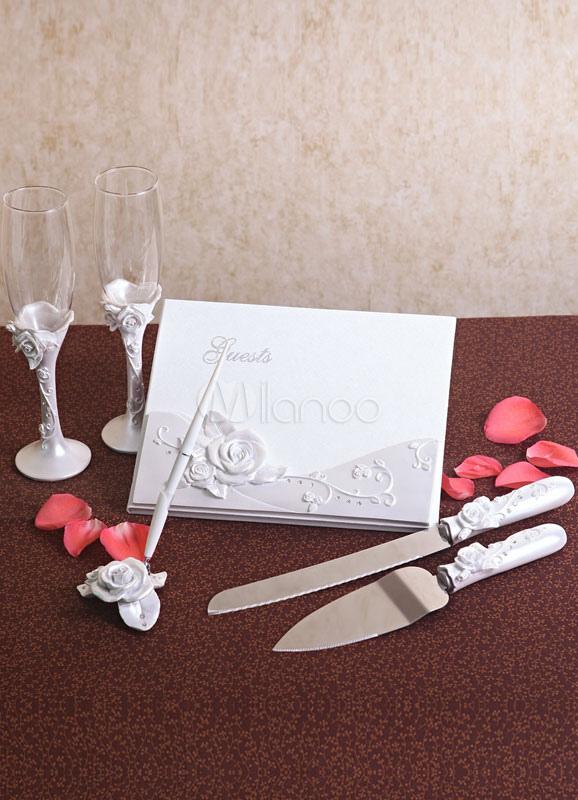 Ivory Resin Rose Wedding Serving Set 6 in 1