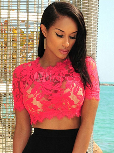 Red Sexy Lace Sheer Top for Women Cheap clothes, free shipping worldwide