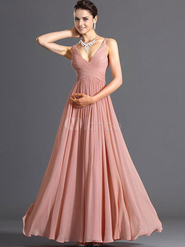 Pink Maxi Dress 2018 V Neck Chiffon Long Prom Dress For Women