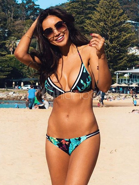 Deep Blue Leaf Pattern Polyester Bikini for Women
