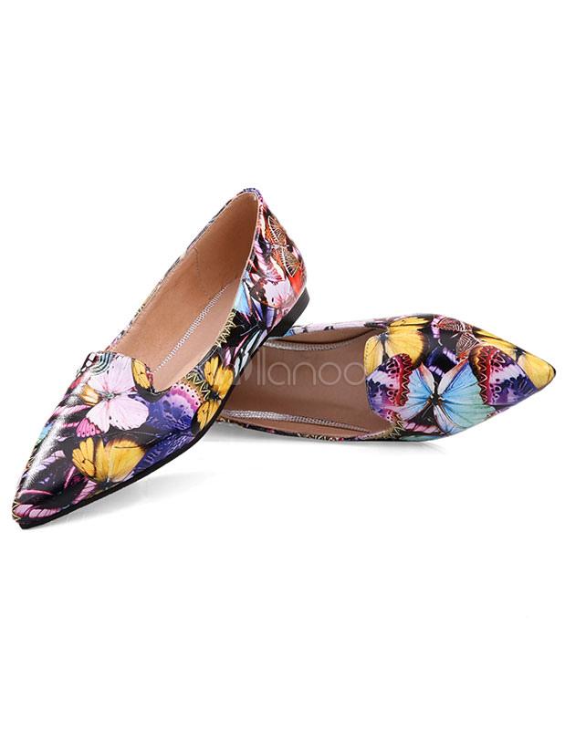 ... Chaussures plates jolies en peau de mouton multicolores imprimé fleuries  -No.2 ...