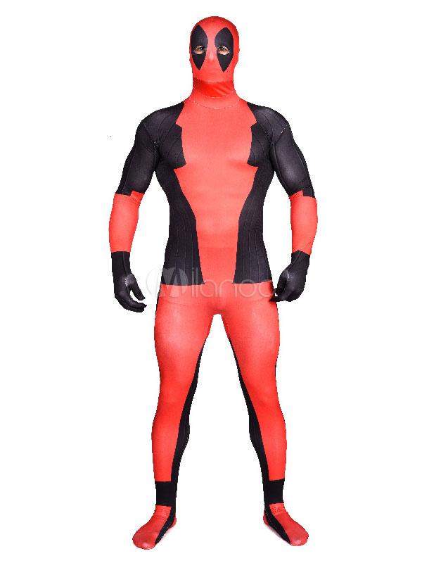 Halloween Deadpool CosplaySuper Hero Costumes Deadpool Lycra Spandex Zentai Suit Full Bodysuit Halloween