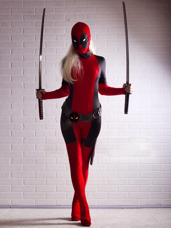 Halloween Deadpool Costume Cosplay Spandex Suit Lycra Zentai Suit Super Heroine Full Bodysuit Halloween