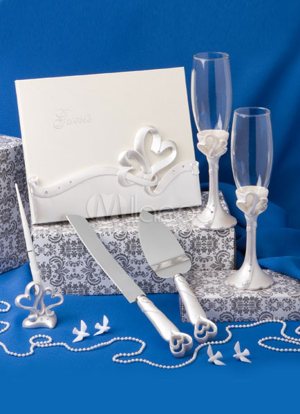 Ivory Resin Ribbon Hearts Wedding Serving Set 6 in 1