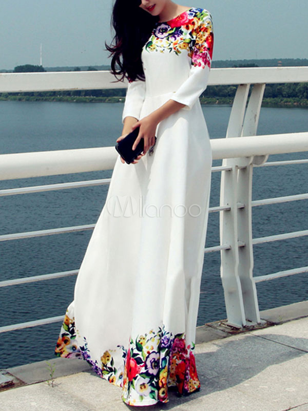 White Long Dress Long Sleeve Floral Maxi Dress