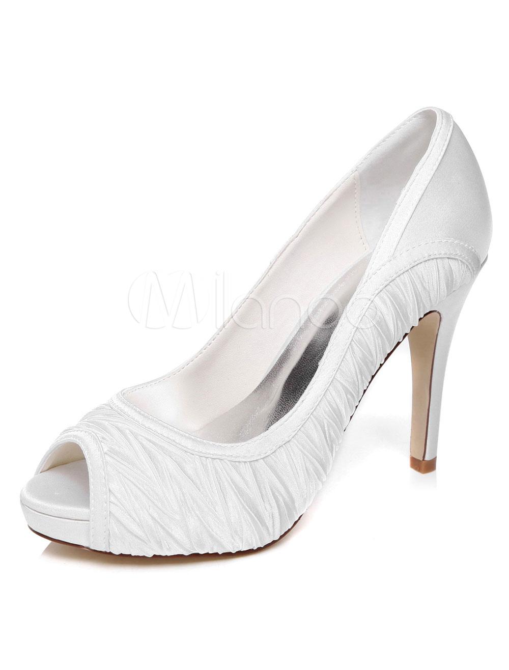 Buy White Satin Platform Peep Toe Bridal Pumps for Women for $72.19 in Milanoo store