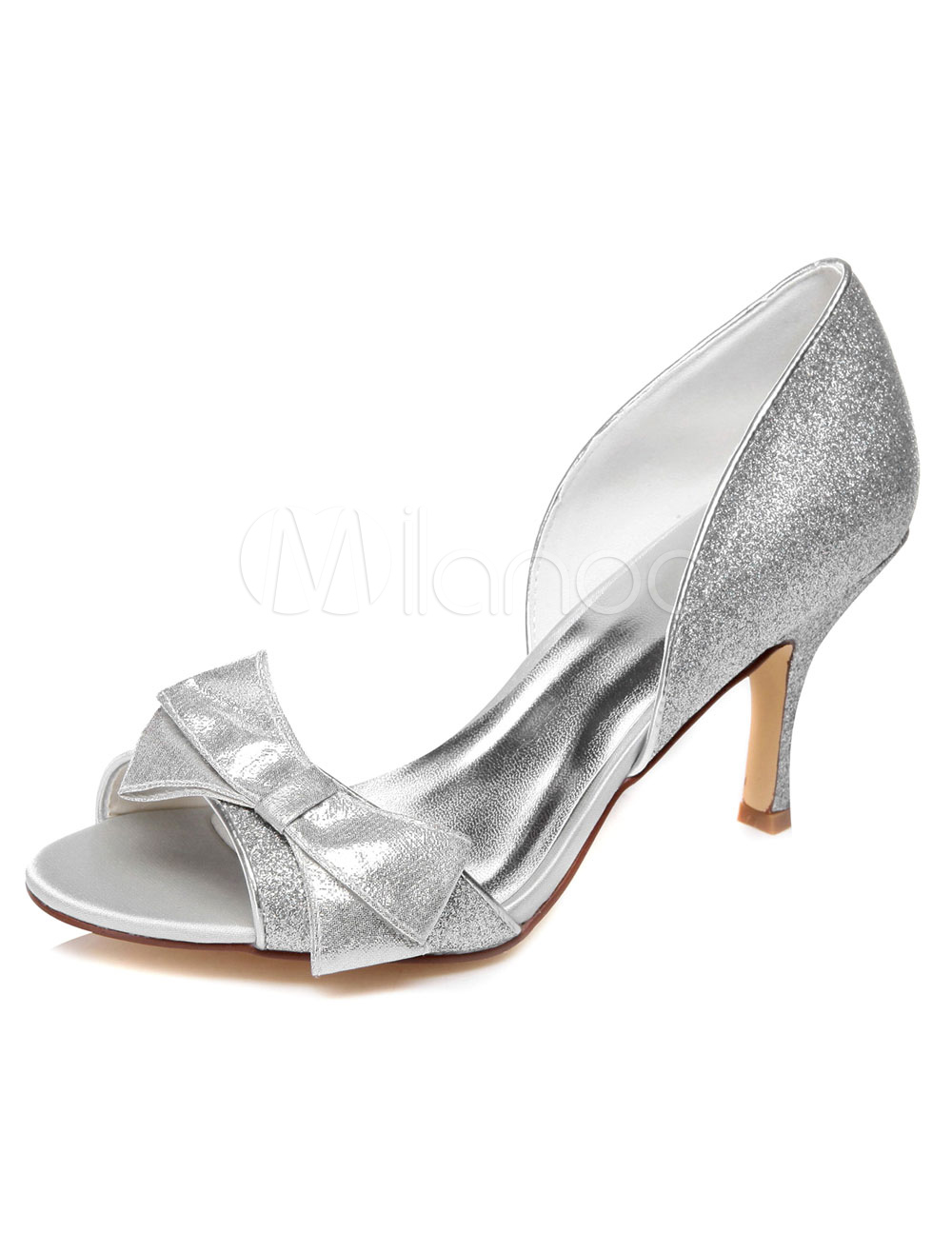 Buy Silver Bows Open Toe Glitter Evening&Bridal Sandals for $62.69 in Milanoo store