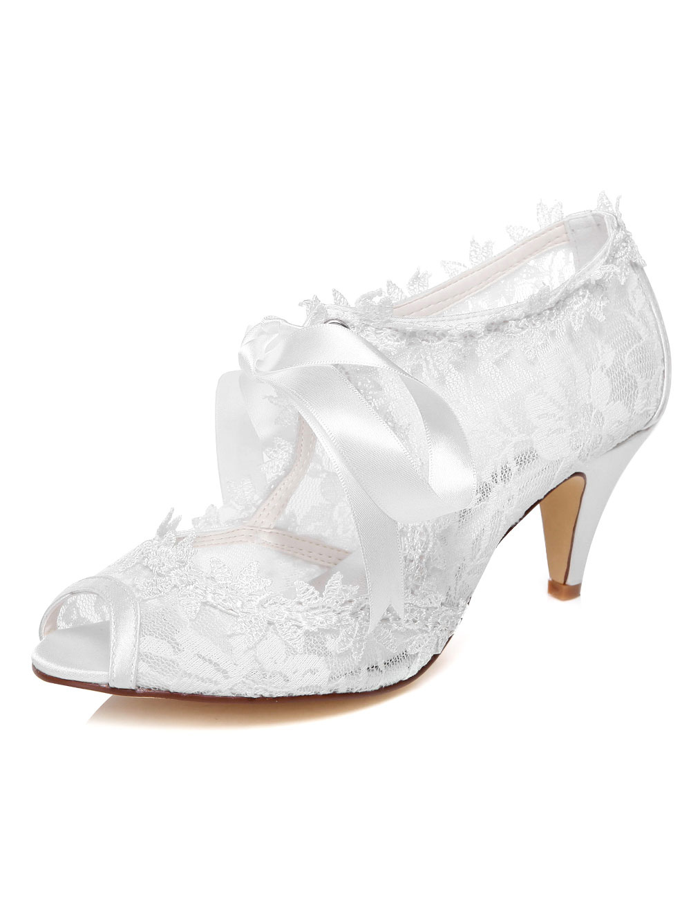 White Lace Ribbons Peep Toe Bridal Pumps for Women