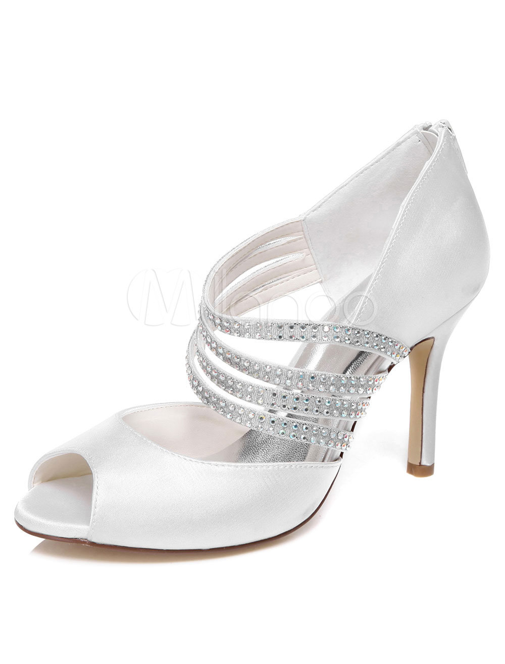 Buy Ivory Rhinestones Satin Peep Toe Evening&Bridal Sandals for Women for $58.39 in Milanoo store
